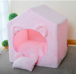 Cute Handmade Pet Dog Cat House Tent Sofa Bed Cushion Frame Bed Indoor Tent S,M