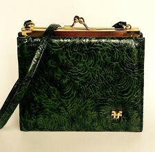 Vintage Green Embossed Cabritilla Leather Purse Gold Frame Malachite