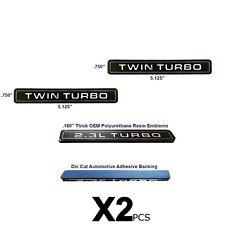 NEW Twin Turbo Interceptor Style Emblem Polyurethane Resin Emblems OE 2pc Set