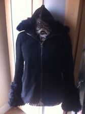 Joseph Jacket Hoodie Pure Sheepskin Winter Black Ladies Size 10-12(M) Used