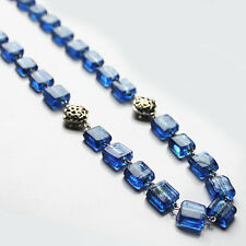 Handmade 70cm Long Silver and Blue Glass Bead Necklace