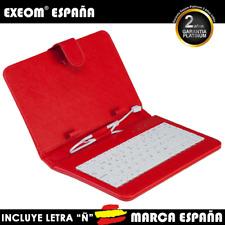 """Funda con Teclado en Español para Tablet Pc 8"""" CoverPAD Rojo Marca España"""