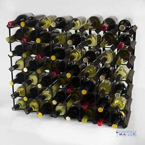Cranville wine rack storage 56 bottle dark oak stain wood and metal assembled