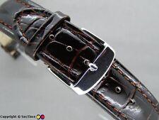 Leather watch strap CROCO XXXL Chocolate 18mm
