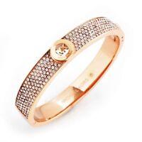 MICHAEL KORS MKJ4000791 Rose Gold MK Logo Crystal Bangle Bracelet MKJ4000