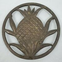 "VINTAGE 7"" Solid Brass Pineapple Design Footed Trivet Made In INDIA"