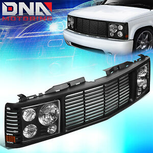 FOR 1988-1999 CHEVY GMC C/K PICKUP TAHOE YUKON FRONT GRILLE+ HEADLIGHT HEADLAMPS