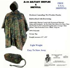 "Poncho - Lightweight Ripstop Flecktarn Camouflage - Roughly measures  87"" x 59"""