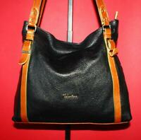 VALENTINA Black Tan Pebbled Leather LRG Belted Shoulder Tote Purse Bag ITALY