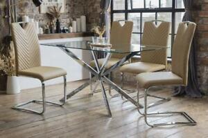 Selina Luxury Dining Table Set with 4 Caramel Elio Chairs Custom Listing NI