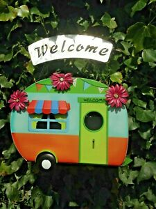 Hanging Caravan Bird House Happy Garden Nesting Bird Box  Decorative Gift