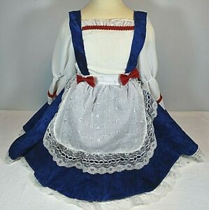 Halloween Red, White & Blue Raggedy Ann Doll Dress Costume Toddler Size 3T - 4T
