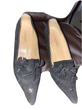 1000$ CHANEL vintage 90s black suede pointed toe tasseled heels shoes 40 us 91/2