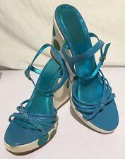Women's Coach Blue Polkadots High Heel Wedge Shoes 9 B