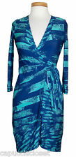 BCBG Max Azria Womens Dress ALBERTA Wrap Jersey Abstract Print Blue XXS NEW $198