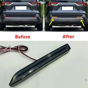 LED Smoked Rear Fog Bumper Brake Light Tail Driving Lamp For Toyota RAV4 2019-21
