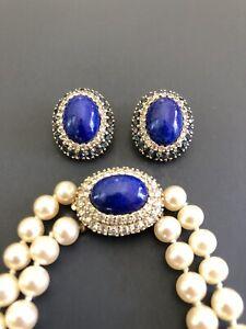 "Vintage PANETTA 2 Strand Faux Pearl Blue Lapis Rhinestone 24"" Necklace/ Earrings"
