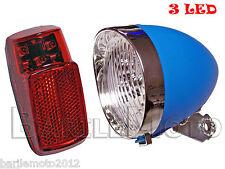 KIT Fanale Luce Anteriore Blu + Posteriore 3 LED Bici City Bike Uomo / Donna