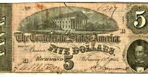 """$5 """"CONFEDERATE"""" (BLUEBACK) 1800'S $5 (NICE!!!) """"CONFEDERATE"""" 1800'S CRISPY!!!!"""