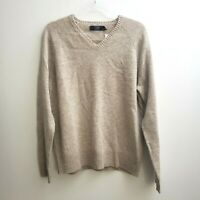 J. Crew Mens 100% Lambswool Beige Sweater Med V-Neck Long Sleeve Pullover  NWT