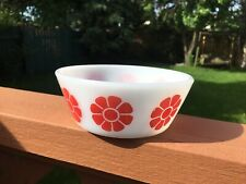Federal Glass Cereal Bowl Red Daisy Milk Glass Vintage