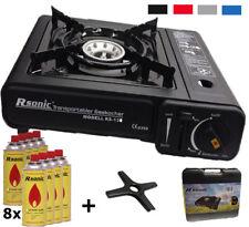 Campingkocher Portable Gaskocher + 8x Gaskartuschen + Gasherdkreutz + Koffer NEU