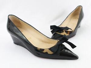 Christian Louboutin Black Patent Animal Print Pony Hair Wedge Heel Shoe 38 8