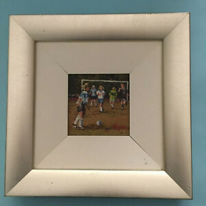 Original Oil Painting signed by Faye Joseph BEND IT Soccer Girls Nicely Framed