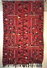 Vintage Mesopotamian Garden of Eden Marsh Arabs Wedding Blanket Rug Weaving Red