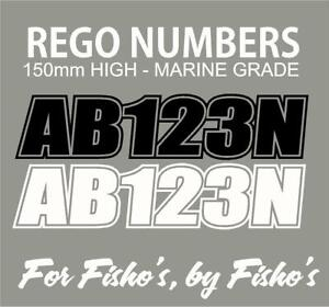 2 x Boat Rego Stickers / Decals 150mm High Registration Letters Numbers Marine