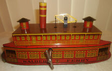 Antique 14in Tin Litho Windup Walbert Ferry Boat w/Orig Box Instructions EXCELLT