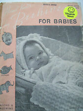 1946 Hand Knits by Beehive for Babies Pattern Book Dress Doll Booties Blanket