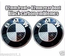 BMW Bonnet+Boot Black CARBON Badge Emblem 2x82mm fits E30 E36 E46 3 5 7 X1-X6