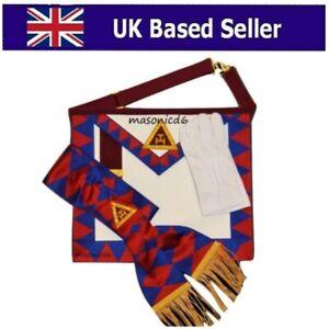 Lambskin Leather Masonic Royal Arch Principal apron & Sash RA Chapter Regalia