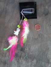 HANDMADE USA Feather Hair Extensions ONE OF KIND pink green TEDDY BEAR clip on