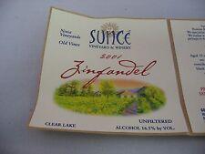 Wine Label: SUNCE Vineyard 2001 Zinfandel Clear Lake Sonoma California