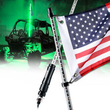 5 ft Green LED Whip Lights Pole with USA Flag for Polaris RZR ATV UTV JEEP Buggy