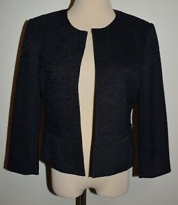New Ann Taylor Blazer Medium Blue Open Front Textured Lined Jacket
