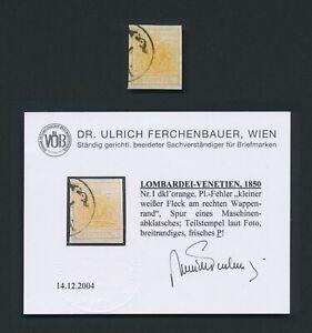 AUSTRIA LOMBARDY & VENETIA STAMP 1850 #1 5c ORANGE WITH FERCHENBAUER CERT, VF