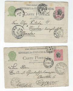 BRAZIL-POSTAL CARDS-(2)-EXTERNAL USE-100 R-1899-FINE-#65