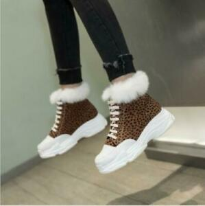 Casual Women's Warm fur Wedge Heels Lace up Warm Fur Ankle Boots Winter Shoes FA