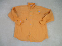 COLUMBIA PFG Button Up Shirt Adult Large Orange Long Sleeve Outdoors Mens A64*