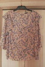 New Sz 24 Pink/beige spotted Background Blue Floral 3/4 Sleeve Bow Frill Cuff
