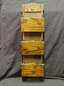 "Wooden Wall Mail Organizer & Key Holder 20""H Vintage"