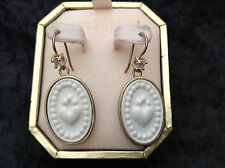 Juicy Couture New Boxed Gold White Victorian Cameo Style Drop Earrings (Pierced)