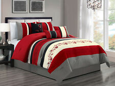 7P Radka Floral Scroll Vine Pleated Comforter Set Red Gray Black Off-White Queen