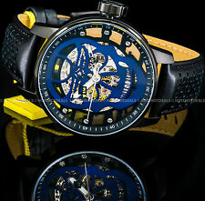 Invicta S1 Rally Blue Skull Mechanical Skeletonized Black IP SS Leather Watch !