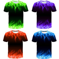 AU Mens Casual T-Shirt 3D Fire Flame Graphic Print Short Sleeve Tee Top Blouse