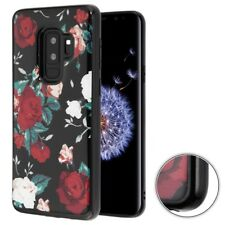SAMSUNG GALAXY S9 PLUS G965 BLACK WHITE FLOWER FLEXIBLE KRYSTAL GEL CASE COVER