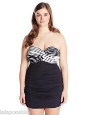 Anne Cole Color Block Plus Size Simple Stripe Size 22W Black/White One Piece